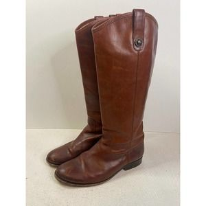 FRYE Melissa Button Lug Tall Leather Riding Boot Extended Calf